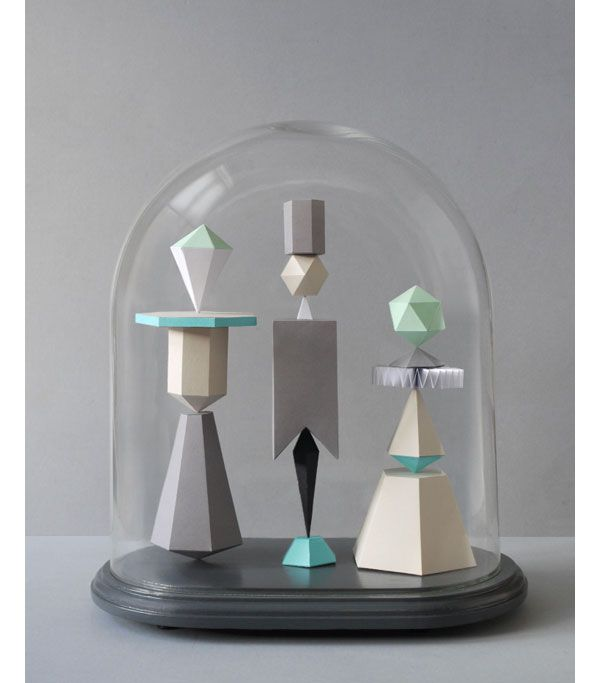 Her  Jars by Present & Correct: Belle Jars, Art Sculpture, Glasses Domes, Paper Art, Wood Blocks, Paper Sculpture, Paper Work, Geometric Shape, Geometric Sculpture