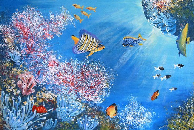 Купить Подводный мир. Картина акрилом - комбинированный, картина в подарок, картина, картина для интерьера