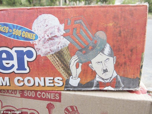 Out of place: Some boxes show Hitler in cartoon while others opt for photographic realism....