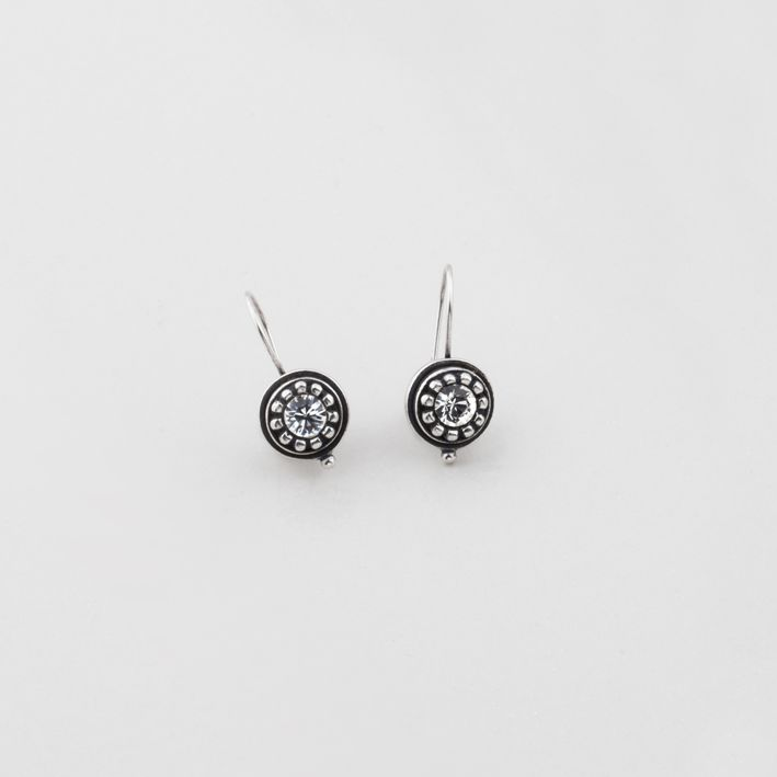 #miglio E2755 Classic Swarovski crystal drop earrings with a beaded burnished silver edge