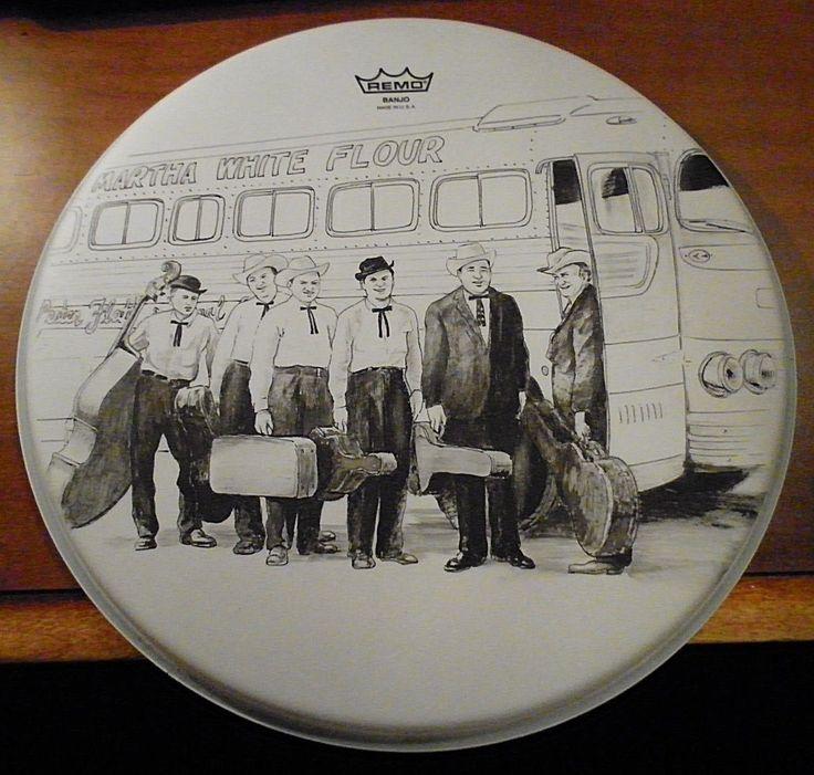 Folkart Lester Flatt & Earl Scruggs Banjo Head Ink Wash Drawing