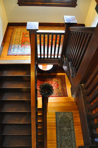 Staircase of home in West Adams Craftsman | Arts & Crafts | Bungalow