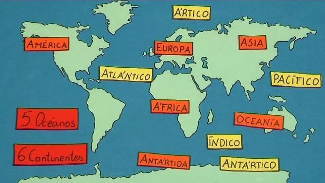 Los 5 Continentes: América, Europa, África, Ásia y Oceanía. Los 5 Océanos: Atlántico, Índico, Pacífico, Ártico y Antártico.