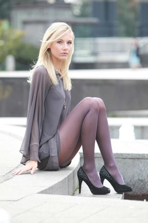 Grey Pantyhose Long Legs 47