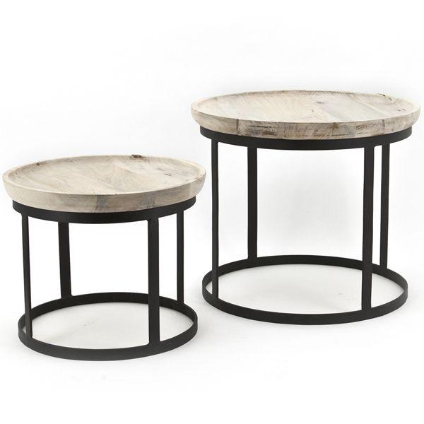Kaffeetisch 2er Set Beistelltische Ø 43 / 53 cm Metall Massivholz | New…