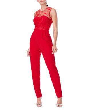 Cherry red floral sleeveless jumpsuit Sale - Goddiva Sale