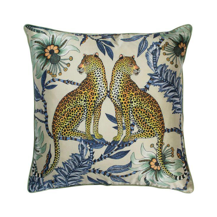 Lovebird Leopard 100% silk african cushion in Tanzanite