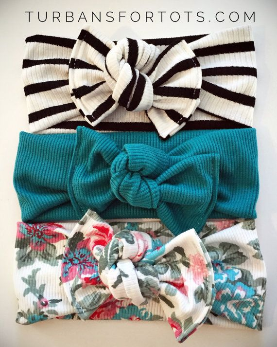 The Starter flat bow Set by turbansfortots on Etsy