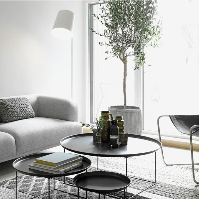 Love the three separate tables functioning as a coffee table - desire to inspire - desiretoinspire.net -