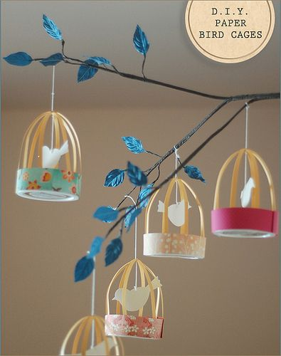 diy paper bird cages! this is soooo cute! i love this! i'm gonna make this and put it over my bed from spring-summer!!! wow!<3