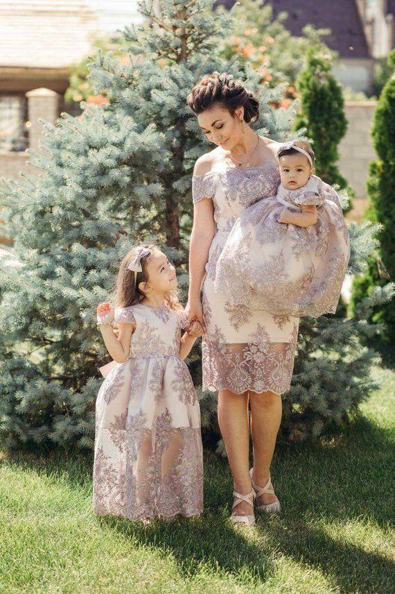 Mutter und Tochter Spitze Party Kleid Familie passende Mother daughter dress