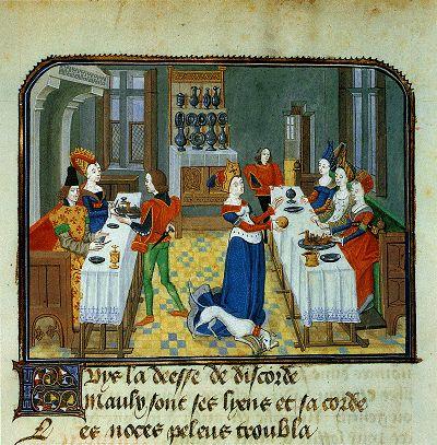Discordia (Eris, de godin van de twist) gooit een gouden appel voor de aanwezige godinnen om de bruiloft van Peleus en Thetis te verstoren. Opmerkelijk zijn het linnen tafelkleed met geborduurde rand, het uitgestalde vaatwerk en de banken waarop de genodigden aanzitten. Miniatuur in Jean Miélots bewerking van Christine de Pisan, L'Epître d'Othéa, ca. 1460. Brussel, Koninklijke Bibliotheek van België, Ms. 9392, fol. 63v