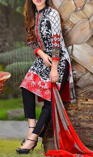 Buy Black/White Embroidered Cotton Lawn Dress by Combinations 2016