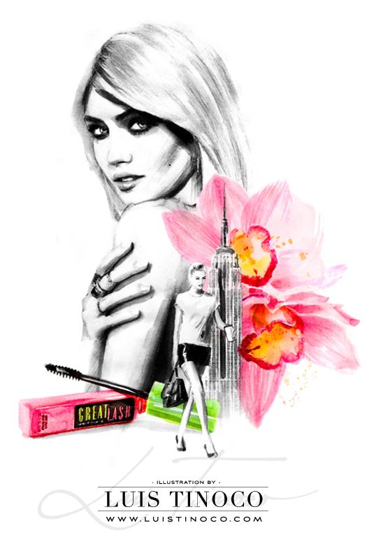 "MAYBELLINE NYC GUIDE 2014 ""BCKSTG"" Charlotte Free Portrait ILLUSTRATION by LUIS TINOCO http://www.luistinoco.com/"