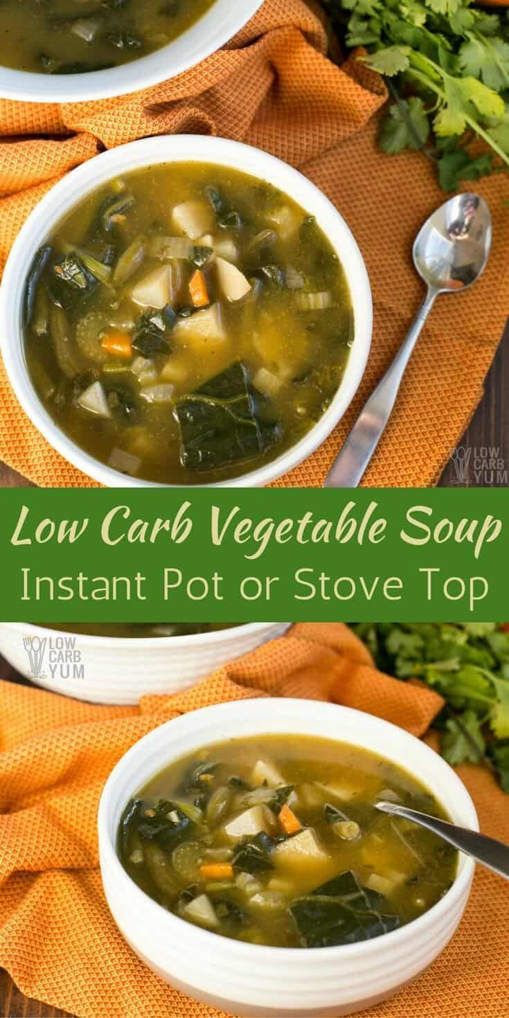 A chunky low carb vegetable soup that's easy to make in the Instant Pot or on the stove top. It's an AIP paleo friendly recipe that's simple to prepare. #AIPpaleo #keto #InstantPot | LowCarbYum.com via @lowcarbyum