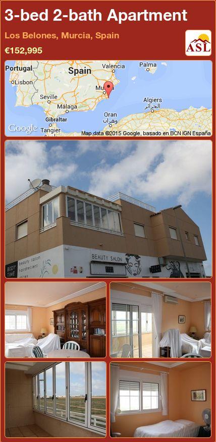 3-bed 2-bath Apartment in Los Belones, Murcia, Spain ►€152,995 #PropertyForSaleInSpain