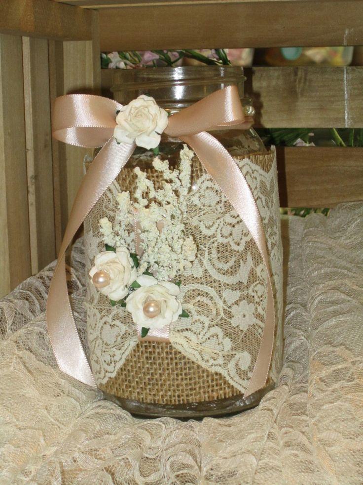 Burlap / Ivory Lace Shabby Chic / Outdoor Mason Jar  Bridal Centerpiece Candleholder. $9.99, via Etsy.