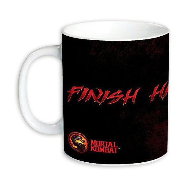 Taza Mortal Kombat. Finish Him  Taza basada en el popular videojuego Mortal Kombat, con la frase Finish Him.