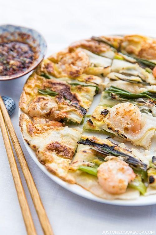 Easy-to-follow Scallion & Prawn Korean Pancake recipe.   JustOneCookbook.com
