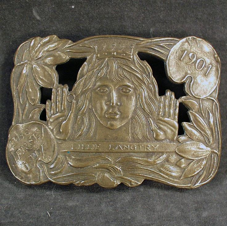 Vintage Belt Buckle - Lillie Langtry - The Jersey Lily - Brass Buckle