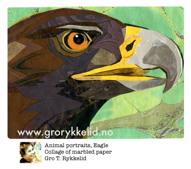 Eagle, collage, marbled paper