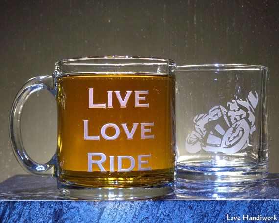 LIVE LOVE RIDE Etched Glass Coffee or Tea Mug by LoveHandyWork