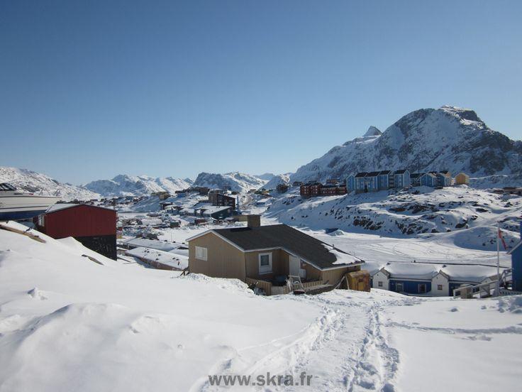 Vue d'hiver de Sisimiut, Groenland