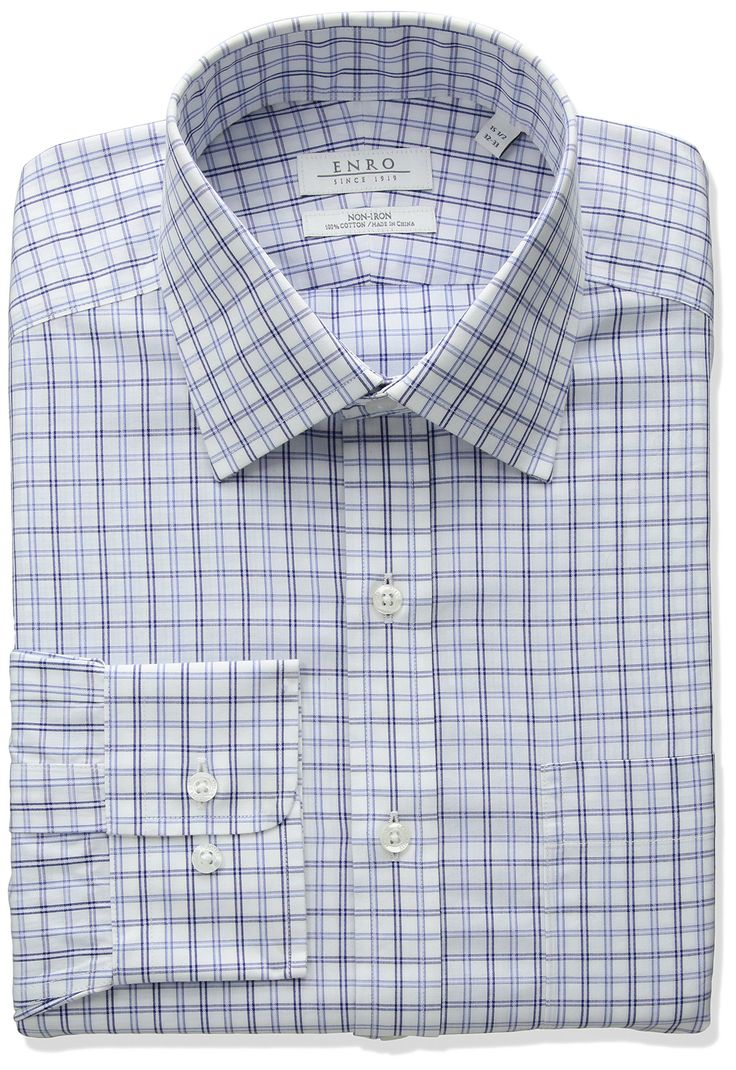 "Enro Men's Classic Fit Spread Collar Tattersall Check Dress Shirt, White/Blue, 15"" Neck 32""-33"" Sleeve"