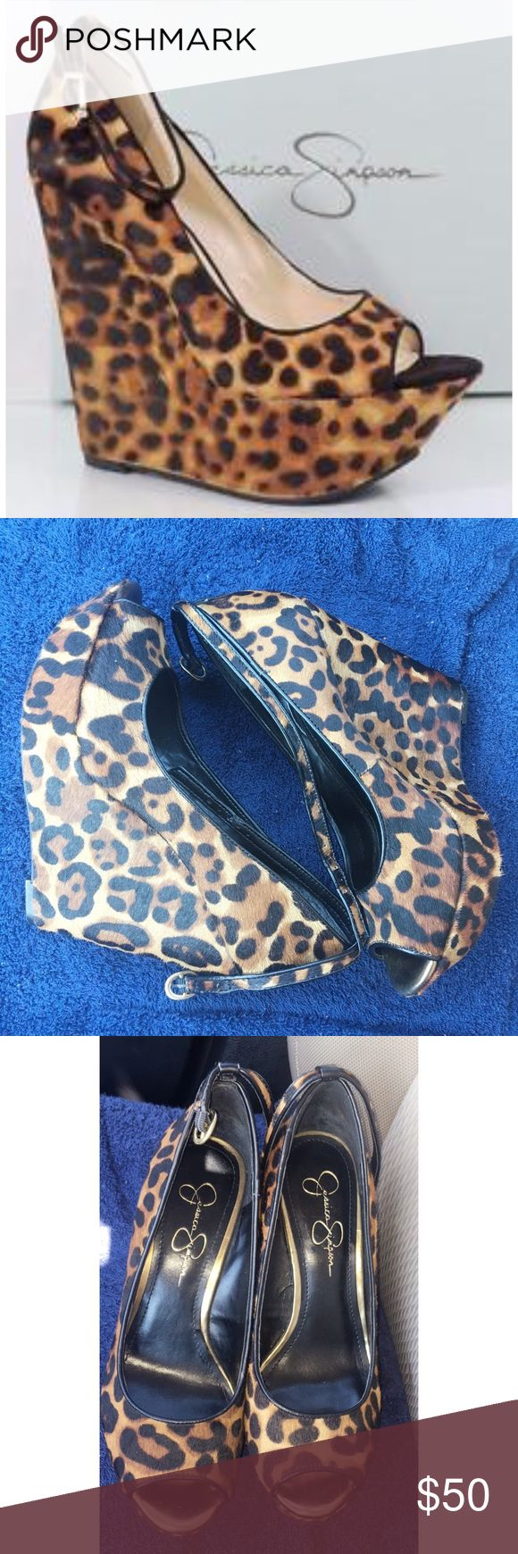 ✨Jessica Simpson Leopard Wedges Brand: Jessica Simpson Style: Leopard Wedge Platform Pumps--Real Pony Hair Fur Size: 9  ❗️Worn twice, personally feels like a size 9.5 to me❗️ Jessica Simpson Shoes Wedges