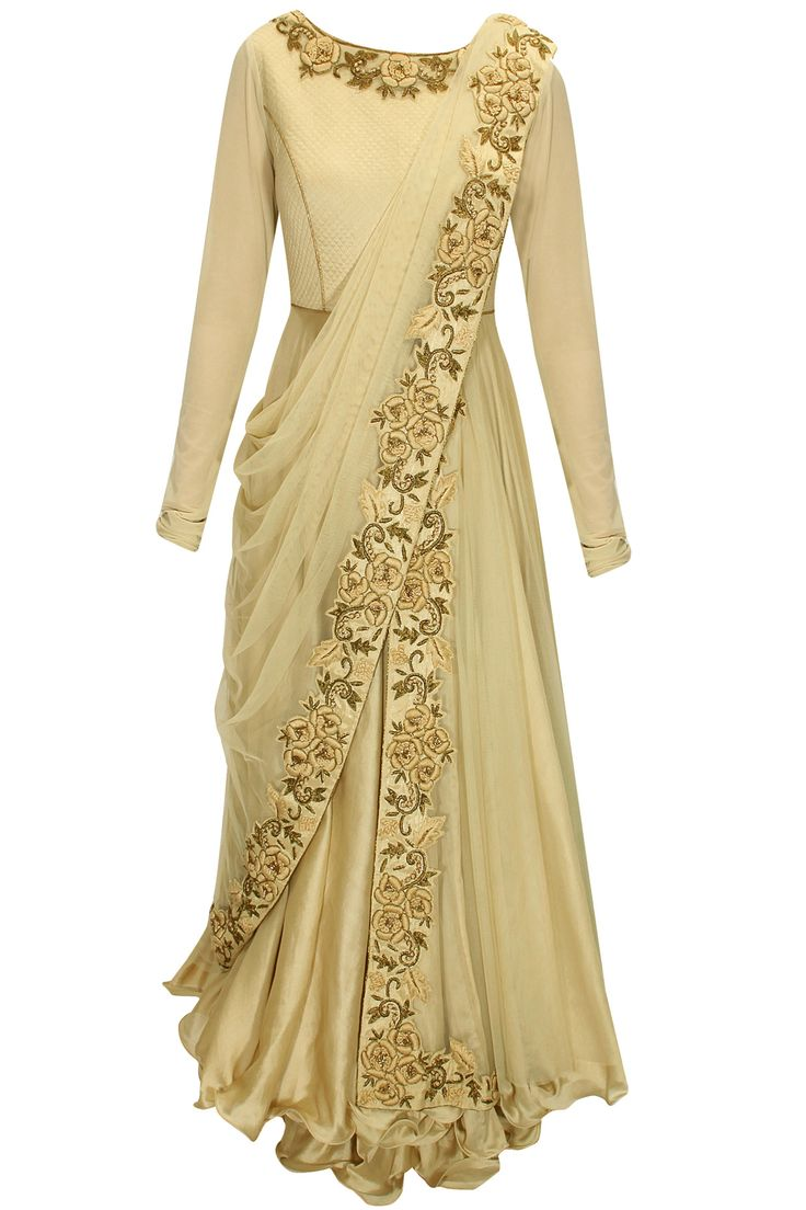 Beige dabka and thread embroidered draped anarkali set available only at Pernia's Pop-Up Shop.