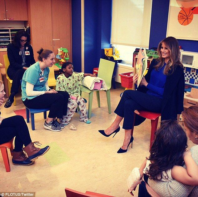 First Lady Melania Trump reads to kids at NYC children's hospital