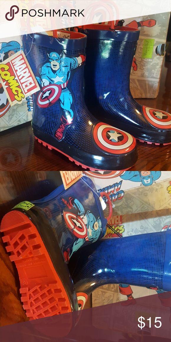 Boy's Marvel rain boots. Captain America blue red boys rain boots. Western Chief Shoes Rain & Snow Boots
