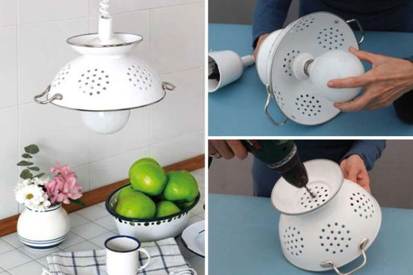 Enameled Colander Pendant If tart tins can be turned into pendants, then why not enameled colanders? If you never really use one of these and they are just stuck in the cabinet forever, then the idea is a great way to add some personality to the kitchen. And if you do not have one handy, then you can use a giant salad bowl as a substitute as well. We are all about dexterity