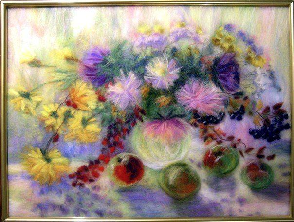 Картина выполнена в технике шерстяная живопись, выкладывание шерстяных волокон в рамку под стекло. Мастер Бусыгина Екатерина
