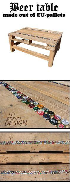 Palettentisch und Kronkorken, die perfekte Kombination! (Woodworking Table)