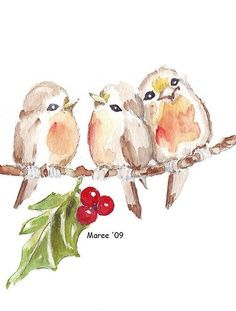 Marjolein Bastin Birds Blue Skies   Watercolour birds