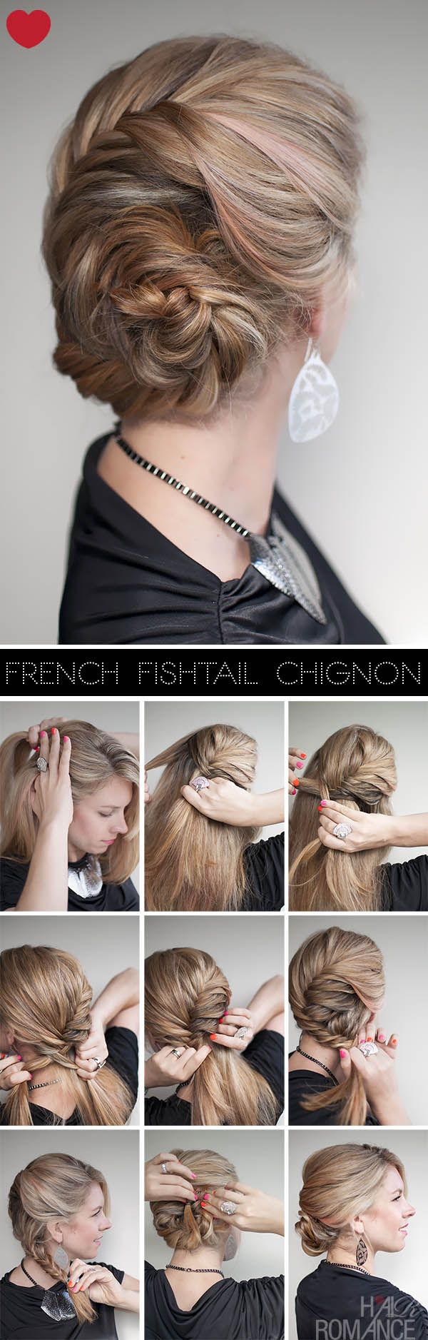 "DIY French Fishtail Chignon Pictures.. Ya they make it look so stinking easy! Lol  Try this ""Elsa"" hairdo on Mallory"
