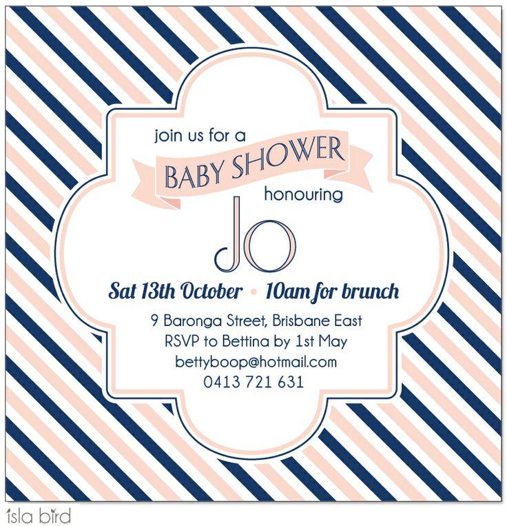 Wedding Invitations and Designer Event Stationery from Isla Bird Stationery:  Chic Stripes Baby Shower Invitation