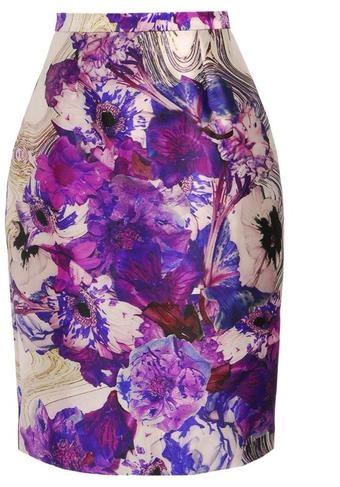 Exclusive Printed Woolsilk Pencil Skirt