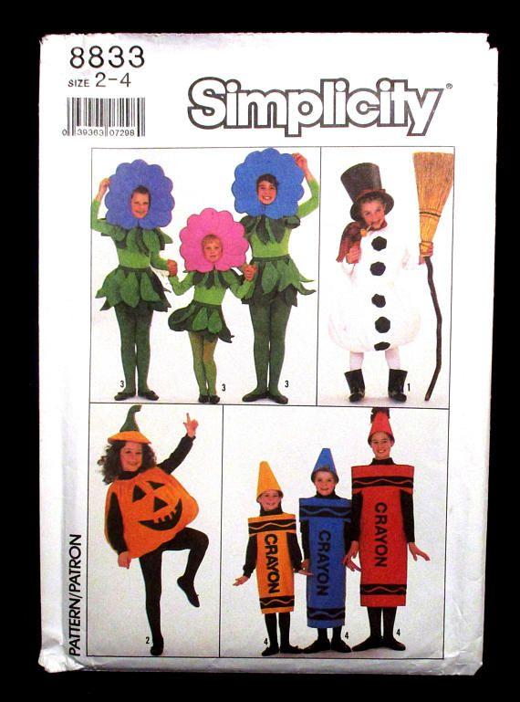 Halloween Costume Pattern Simplicity 8833 Crayon Flower