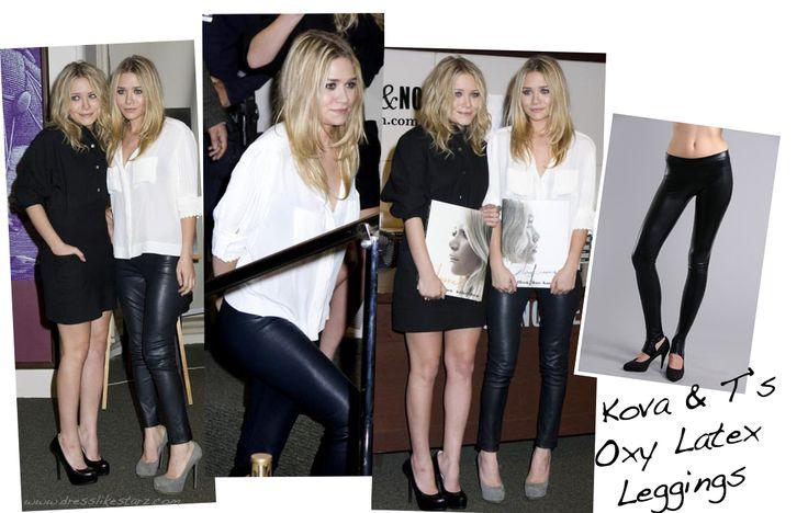 ashley olsen in latex leggings1 Dress Like Ashley Olsen: Ashley Olsen Loves Kova & T Latex Leggings