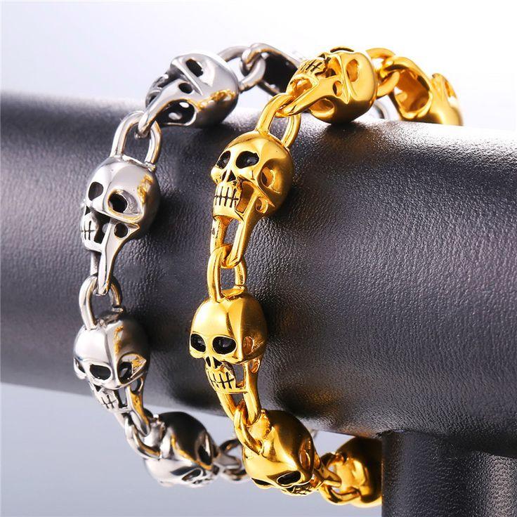 Women's Skull Chain Stainless Steel Bracelet //Price: $23.99 & FREE Shipping //     #skull #skullinspiration #skullobsession #skulls