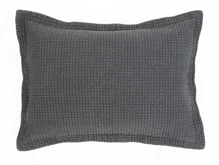 Havana Charcoal Pillow Case - A modern charcoal quilted sham pillow case with flanged edges. Matches the Havana Charcoal Bedspread.