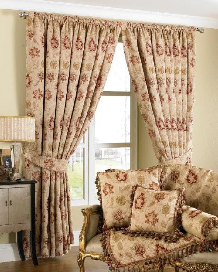 Luxurious Cream Red Tapestry Chenille 90 X Pencil Pleat Thick Curtains