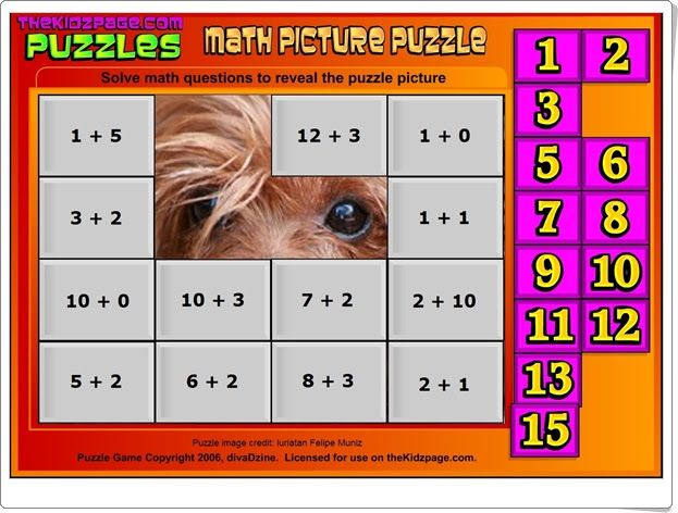 http://www.thekidzpage.com/learninggames/math_picture_puzzles/addition-to16-dog.swf