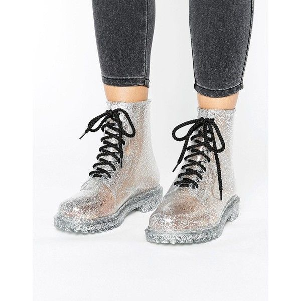 Park Lane Lace Up Ankle Welly (215730 PYG) ❤ liked on Polyvore featuring shoes, silver, lace up shoes, jelly shoes, glitter rain boots, rubber boots and glitter shoes