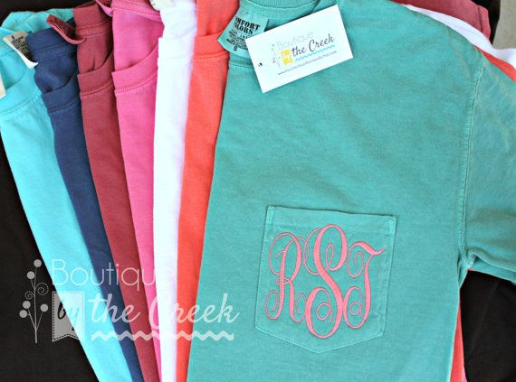 Comfort Colors Brand Monogrammed Short Sleeve Pocket Tee T-Shirt on Etsy, $22.00