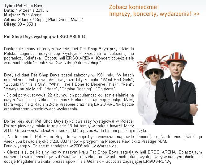 Doskonale znany na całym świecie duet Pet Shop Boys przyjedzie do Polski! Więcej informacji na: http://www.gdansk4u.pl/pet-shop-boys