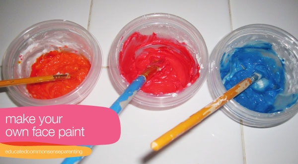 Make face paint: 1 teaspoon cornstarch 1/2 face cream/cold cream/heavy lotion (white--i used Aveeno Baby Lotion) 1/2 teaspoon water Food coloring Small paintbrushes