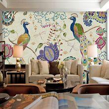 A large mural custom color peacock flower dragonfly wallpaper bedroom living room sofa restaurant TV backdrop wallpaper(China (Mainland))